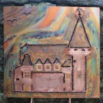 [Vendu – Sold] « Château Maison Blanche, Yvorne », 48 x 51 cm, 2014.
