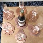 [Commande – Order] Set de sous-verres/bouteille feuille de vigne, 2013.